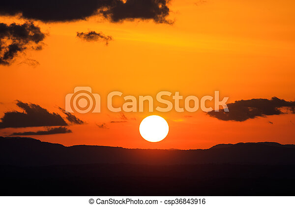Scenic view of a beautiful sunset - csp36843916