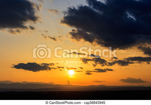 Scenic view of a beautiful sunset - csp36843945