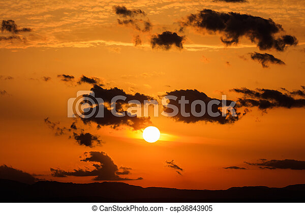 Scenic view of a beautiful sunset - csp36843905