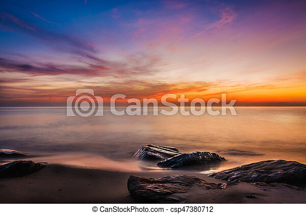 Scenic view of beautiful sunset above the sea - csp47380712