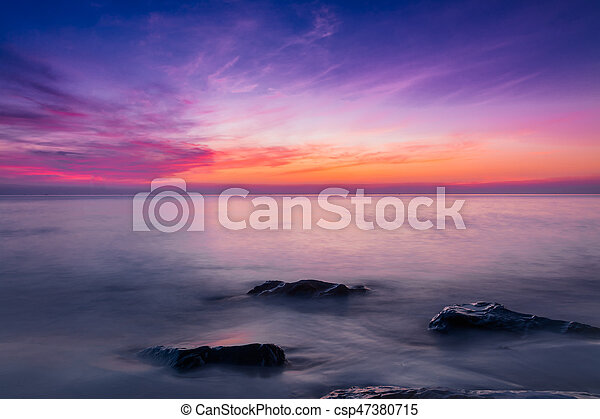 Scenic view of beautiful sunset above the sea - csp47380715