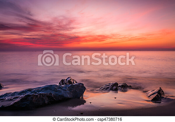 Scenic view of beautiful sunset above the sea - csp47380716