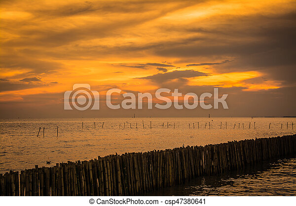 Scenic view of beautiful sunset above the sea - csp47380641