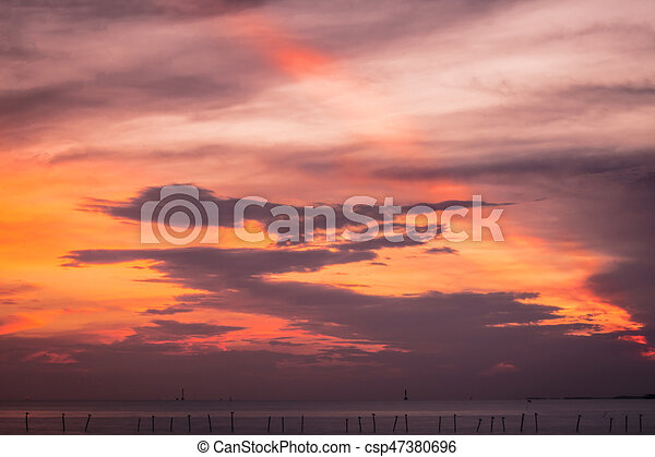 Scenic view of beautiful sunset above the sea - csp47380696