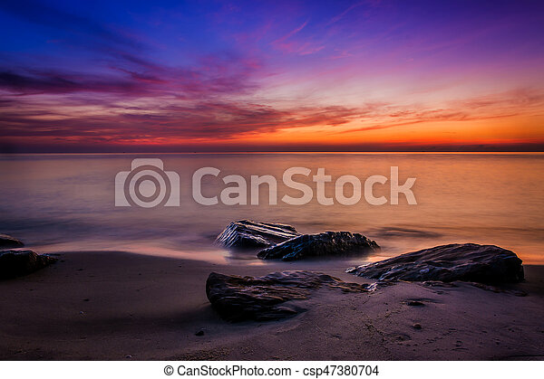 Scenic view of beautiful sunset above the sea - csp47380704