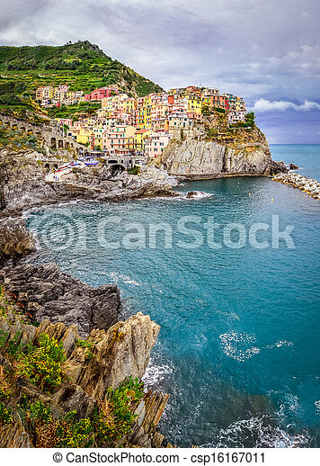 Scenic view of colorful village Manarola in Cinque Terre - csp16167011