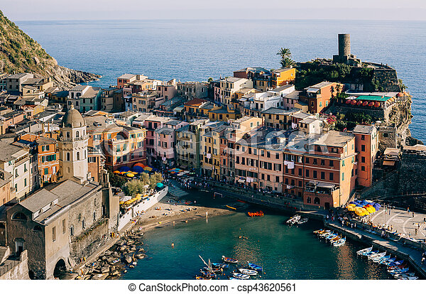 Scenic view of colorful village Vernazza in Cinque Terre, Italy - csp43620561