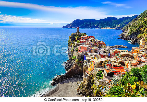 Scenic view of colorful village Vernazza in Cinque Terre - csp19139259