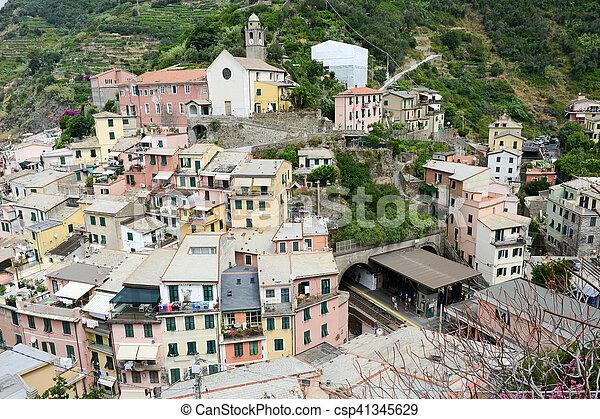 Scenic view of colorful village Vernazza in Cinque Terre - csp41345629