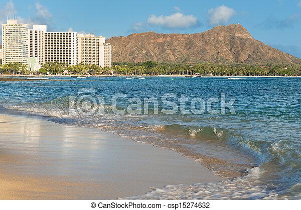 Scenic view of Diamond Head and Waikiki Beach - csp15274632