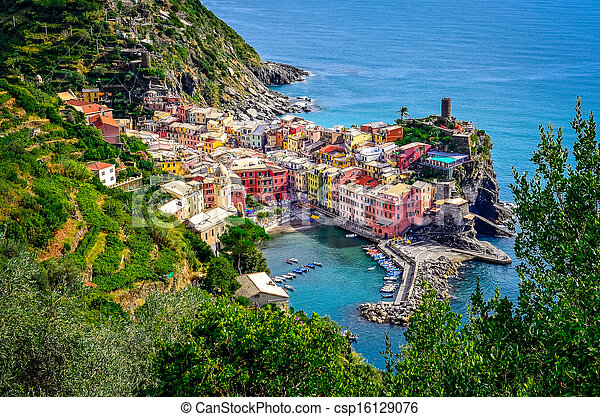 Scenic view of ocean and harbor in colorful village Vernazza, Cinque Terre, Italy - csp16129076