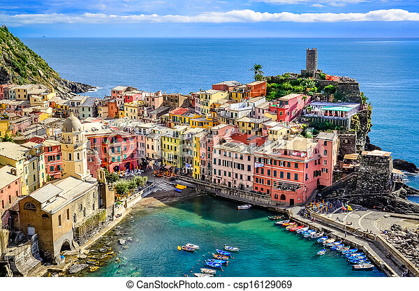 Scenic view of ocean and harbor in colorful village Vernazza, Cinque Terre, Italy - csp16129069