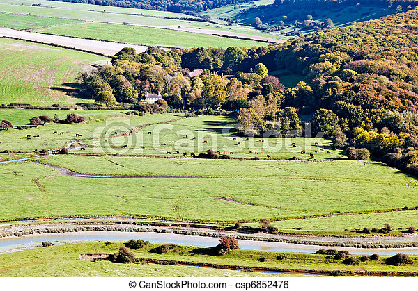 Scenic view of the rolling Sussex countryside - csp6852476