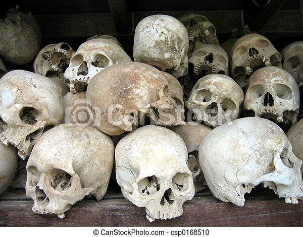 Schädel, menschliche . Opfer, felder, cambodscha, tötung, penh ...