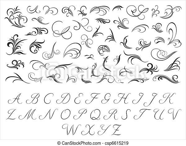 schémas floraux, initiales - csp6615219