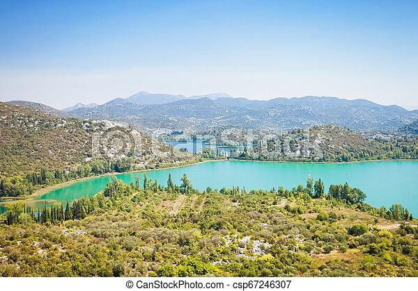schöne , überblick, bacina, -, seen, seen, kroatien, über, dalmatien - csp67246307