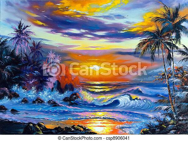 schöne , abend, meer, landschaftsbild - csp8906041