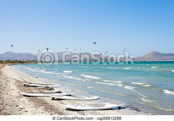 schöne , alcudia, kitesurfing, -, alcudia, sandstrand, mallorca - csp56913288
