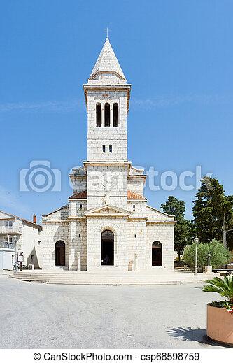 schöne , altes , pakostane, pakostane, -, kroatien, architektur, kirchturm - csp68598759