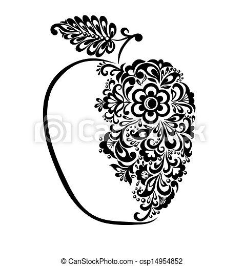 Wunderschöner schwarz-weißer Apfel mit Blumenmuster. - csp14954852