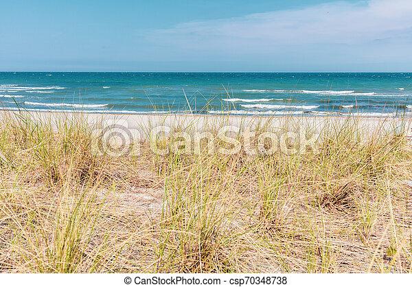 Die Aussicht auf die Düne der Ostsee bei schönem Wetter - csp70348738