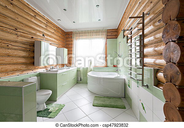 schöne , badezimmer, holzhütte, kiefer, rustic, interior., kabine, berge.,  holzstämme