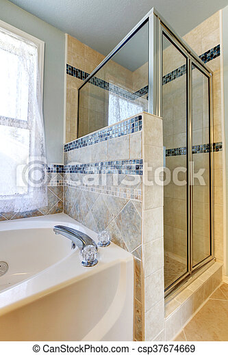 Schöne , badezimmer, keramisch, -, walk-in, dusche, design ...