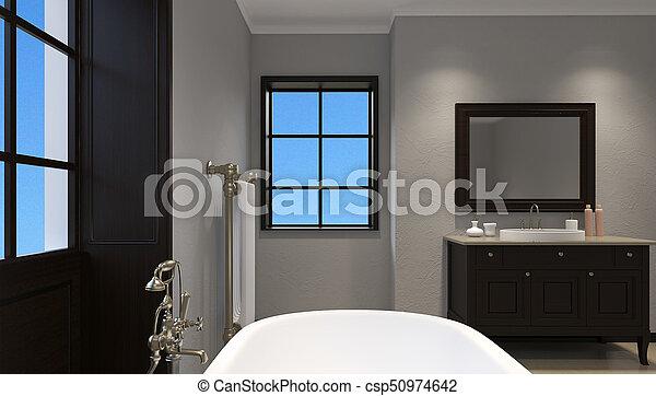 Schöne , badezimmer, shower., übertragung, meister, 3d.