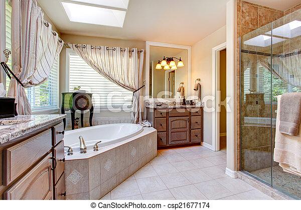 Schöne , badezimmer, ton, licht, mauve, inneneinrichtung. Schöne ...