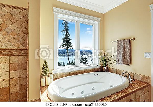 schöne , badezimmer, vollbad, ansicht, strudel
