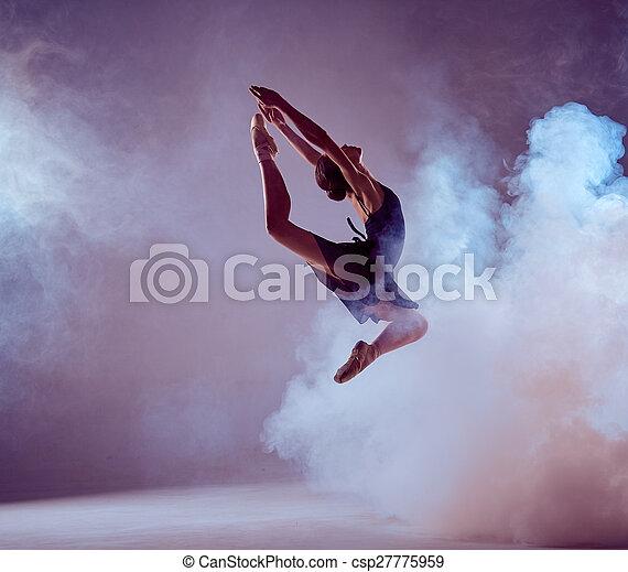 schöne , ballett, lila, tänzer, junger, hintergrund., springende  - csp27775959