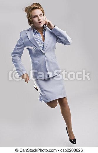 schöne , beweglich, rennender , telefon, geschäftsfrau - csp2200626