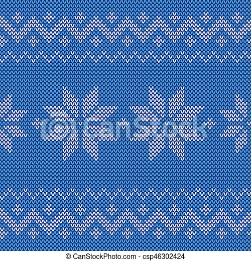 schne blaues jacquard muster seamless gestrickt flowers csp46302424 - Jacquard Muster