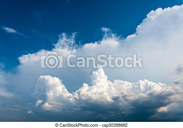 schöne , blaues, thailand, wolkenhimmel, himmelsgewölbe - csp30388682