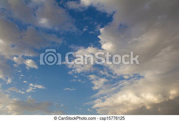 schöne , blaues, wolkenhimmel, himmelsgewölbe - csp15776125