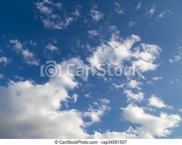 schöne , blaues, wolkenhimmel, himmelsgewölbe - csp34581507
