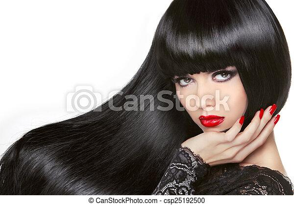 Lange Haare. Wunderschönes Brünettchen. Gesundes schwarzes Haar. Rot - csp25192500