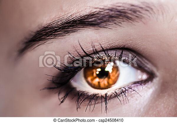 Schöne Braune Augen Auge Makro Makeup Make Up Schöne