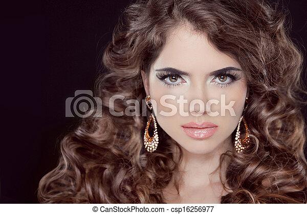 schöne , brauner, brünett, hairstyle., schoenheit, gesunde, langer, girl., hair., sexy, woman., modell - csp16256977