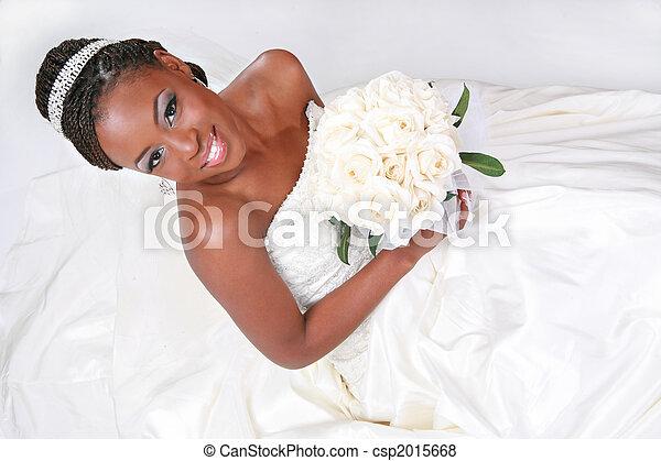 schöne , braut, amerikanische , afrikanisch, porträt - csp2015668