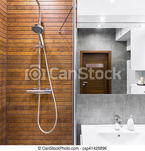 Schöne , dusche, badezimmer. Badezimmer, hölzern, dusche, design ...