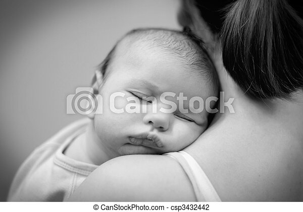 schöne , eingeschlafen, weißes, schwarz, baby - csp3432442