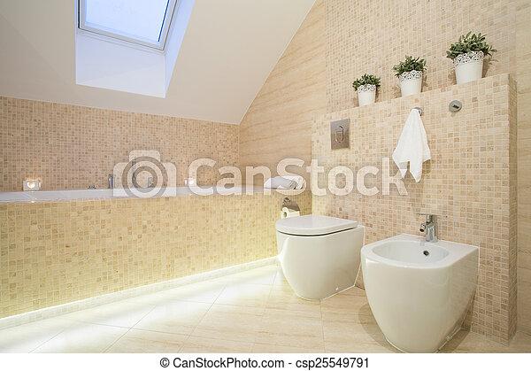 schöne , farbe, badezimmer, beige