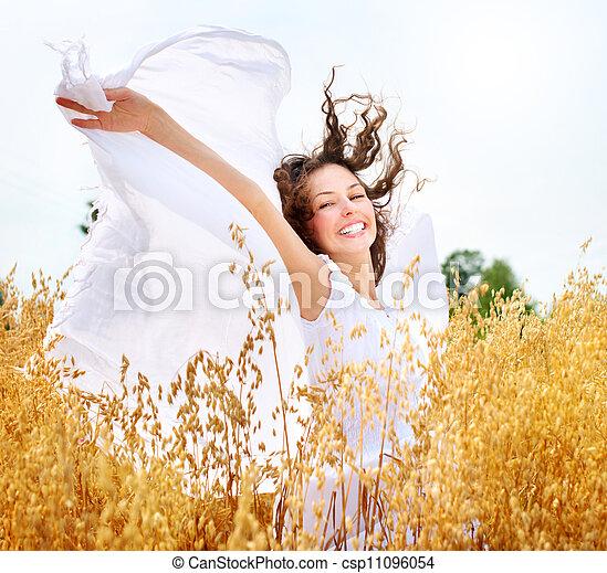 schöne , feld, m�dchen, weizen, glücklich - csp11096054