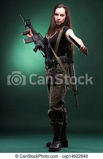 schöne frau, armee, -, gewehr, plastik, gewehr - csp14622849
