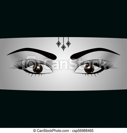 Schöne Frau Eye Schloß Moslem Veil Abbildung Gesicht Araber Vektor Porträt Islam