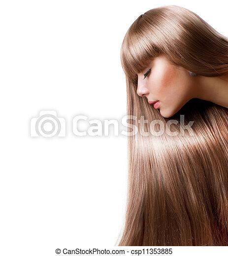schöne frau, gerade, langes haar, blond, hair. - csp11353885