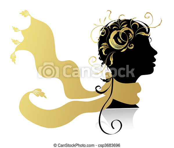 schöne frau, kopf, silhouette - csp3683696