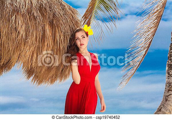 schöne frau, kueste, tropische , meer, kleiden, rotes  - csp19740452