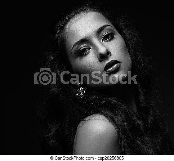 schöne frau, schwarz, porträt, weißes, verführerisch, portrait. - csp20256805